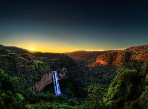 Caracol Falls in sunset