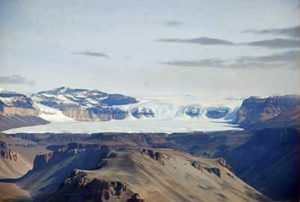 The fantastic Airdevronsix icefall from 17.5 km distance, Antarctica
