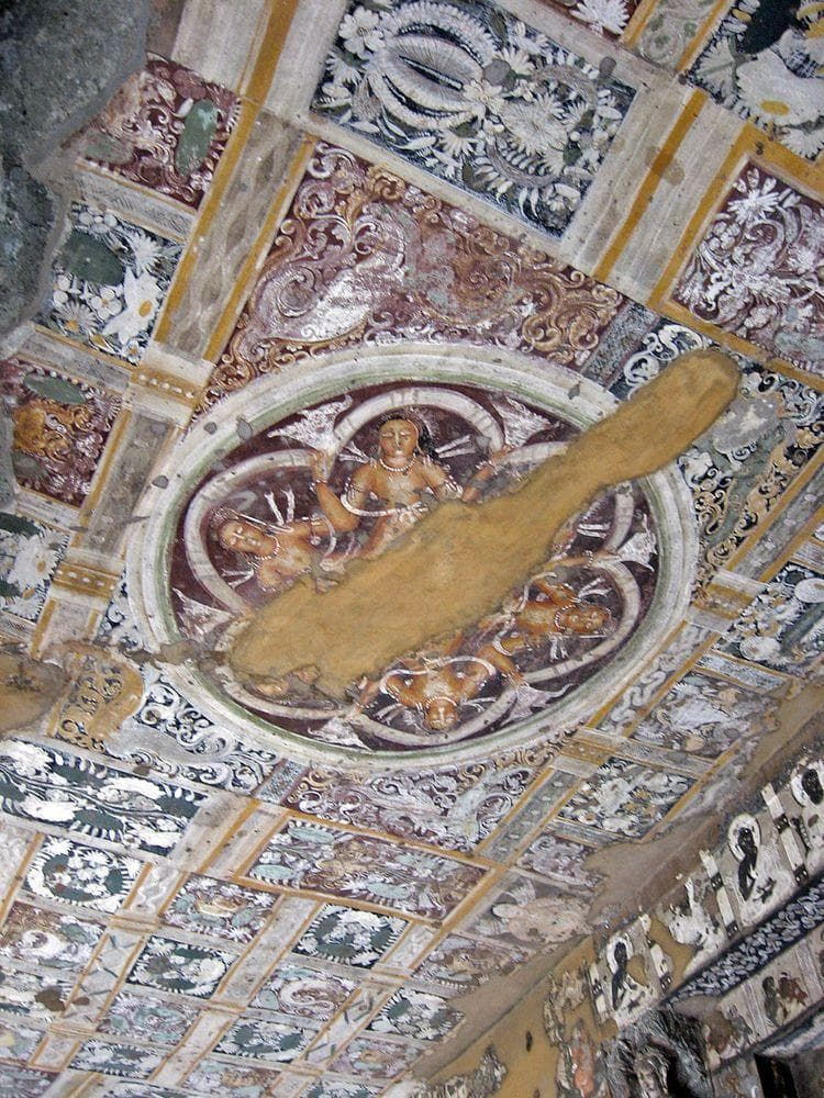 Ajanta Caves, decoration of ceiling