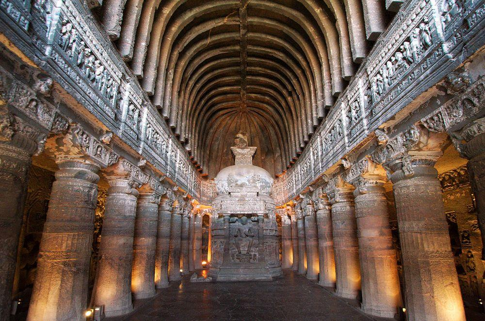 Ajanta Caves, inside the chaitya griha