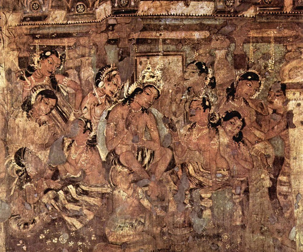 Mural in Ajanta Caves - Jataka stories