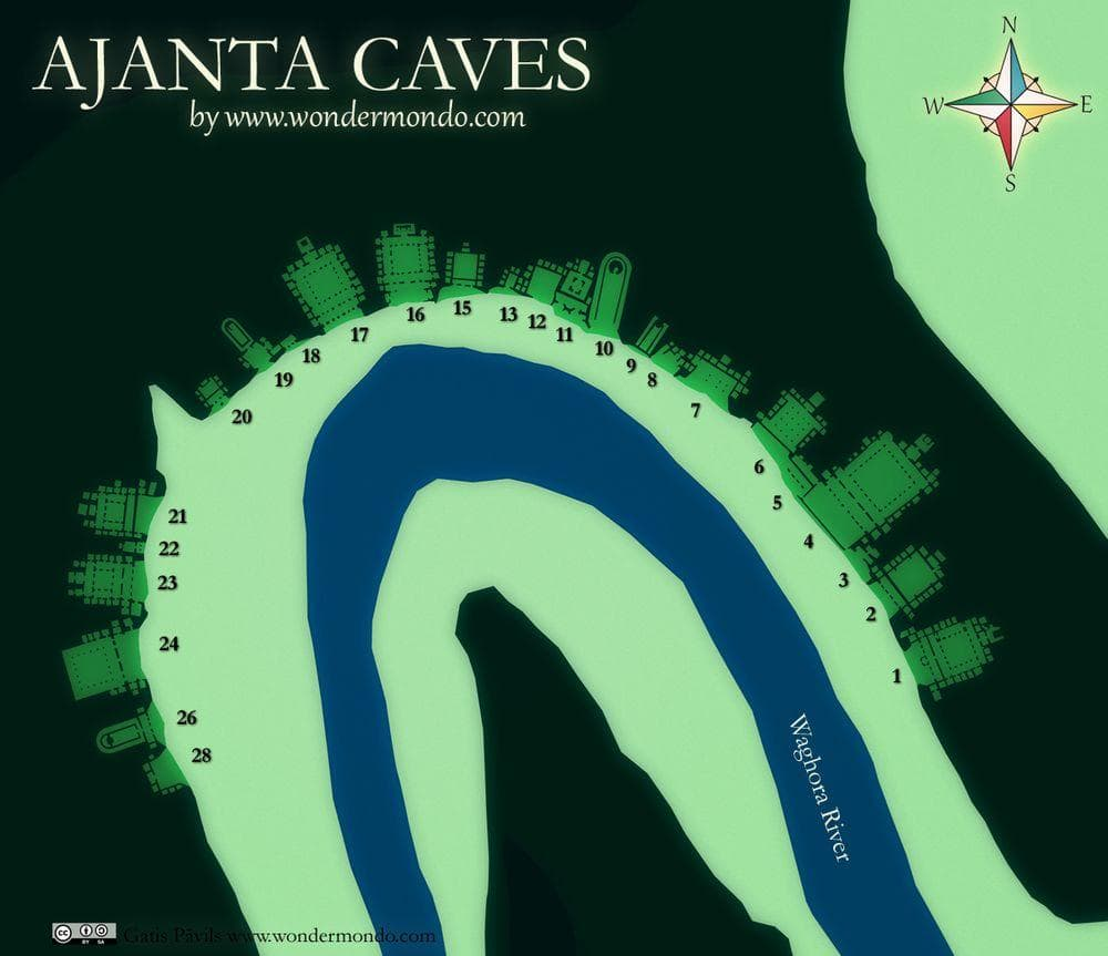 Ajanta Caves - map