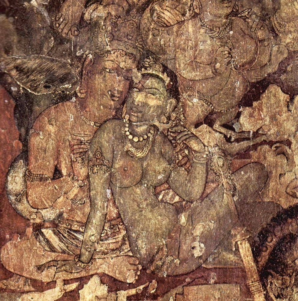 Mural in Ajanta Caves - more than 1,500 years old!
