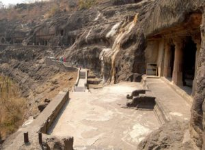 Ajanta Caves, Cave No 20 in the forefront