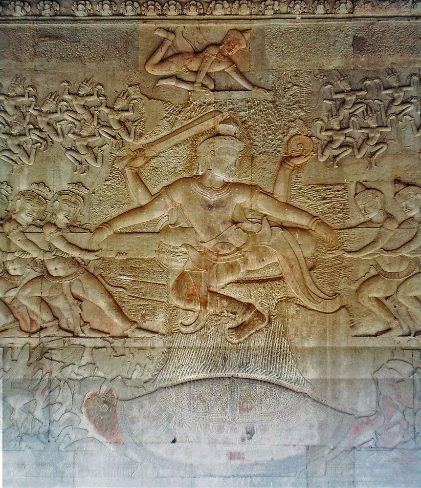 "Angkor Wat. Central part of the scene ""Churning of the Sea"", Vishnu in the centre, asuras to the left and devas to the right"