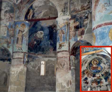 Interior and frescoes in Antiphonitis Church, Cyprus