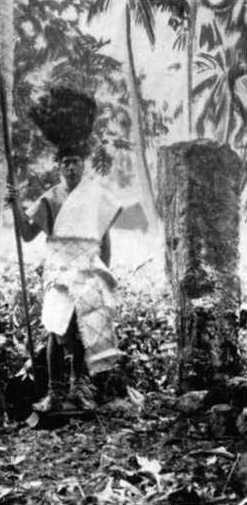 High priest and tau-makeva initiation stone in Arai te Tonga, Rarotonga
