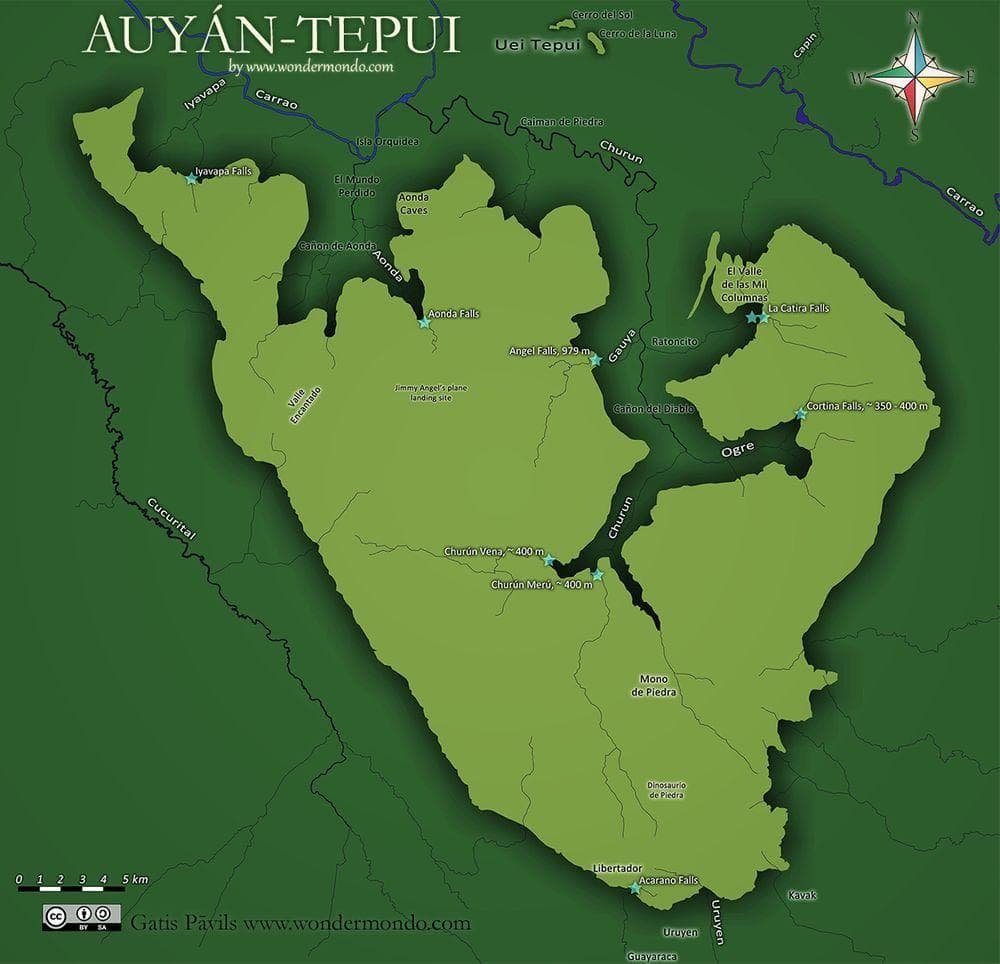 Map of Auyantepui, Angel Falls in the central - northern part of map