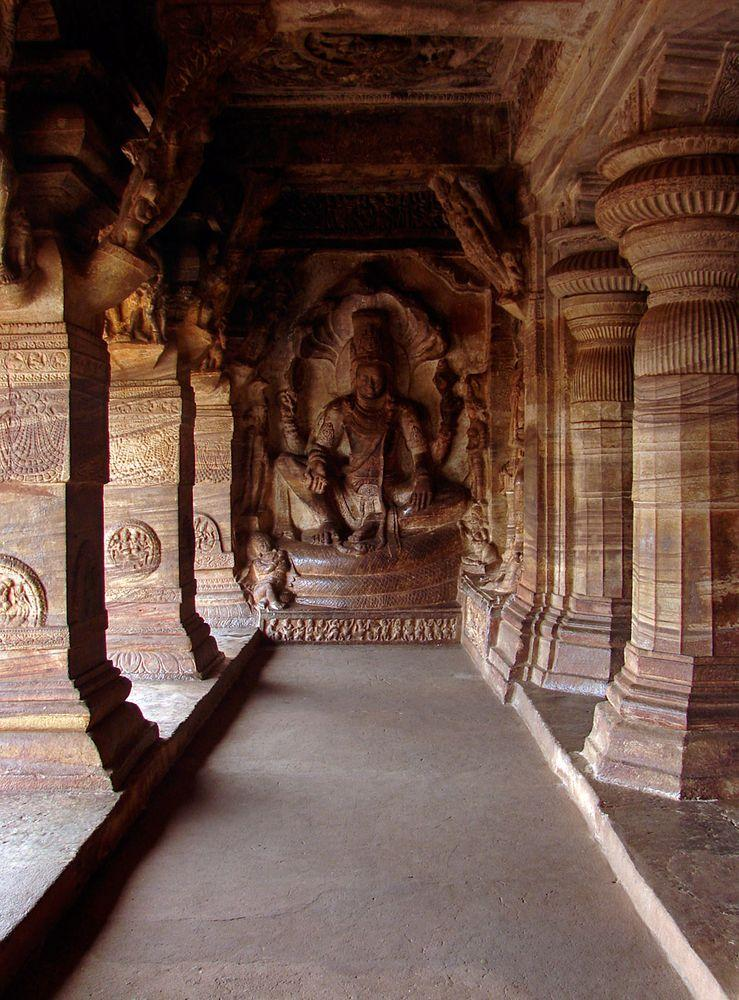 Badami Cave 3 in India, relief of Vishnu