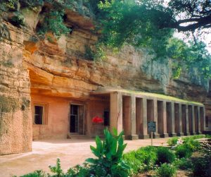 Bagh Caves in India, entrance
