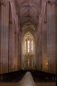 Inside the Batalha Monastery church, Portugal