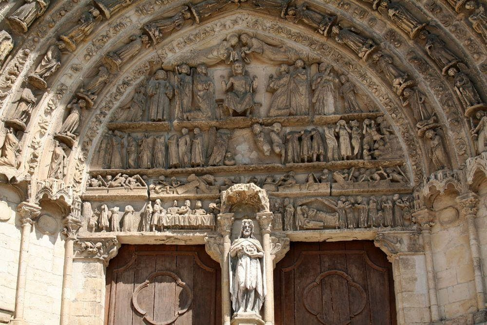 Bazas Cathedral in Aquitaine, adornment of portal