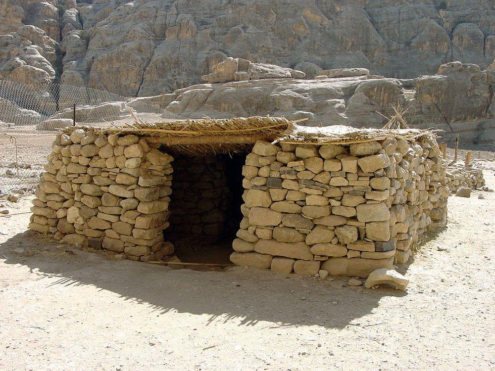 Reconstruction of Neolithic house in Beidha, Jordan