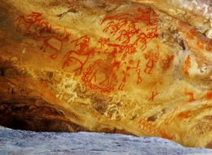 Cave art in Bhimbetka caves, India