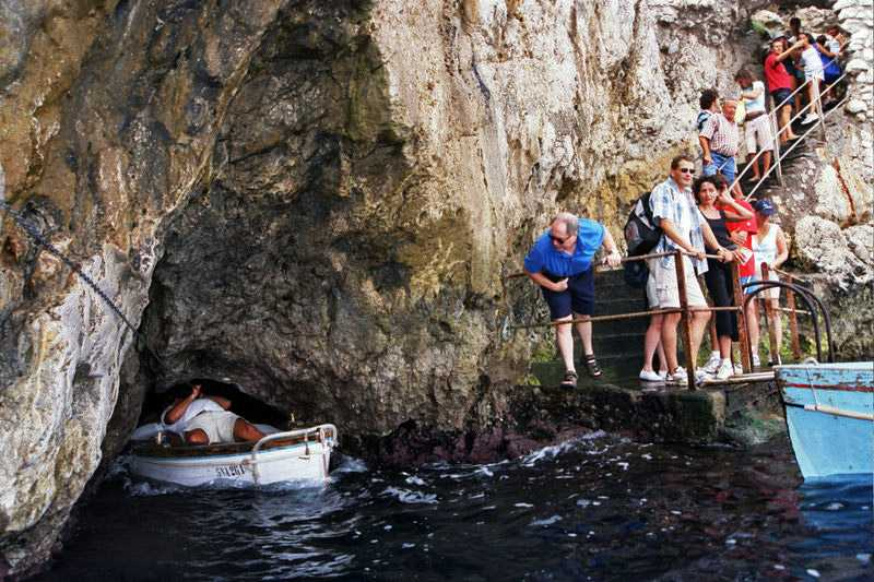 Entering the Blue Grotto, Italy