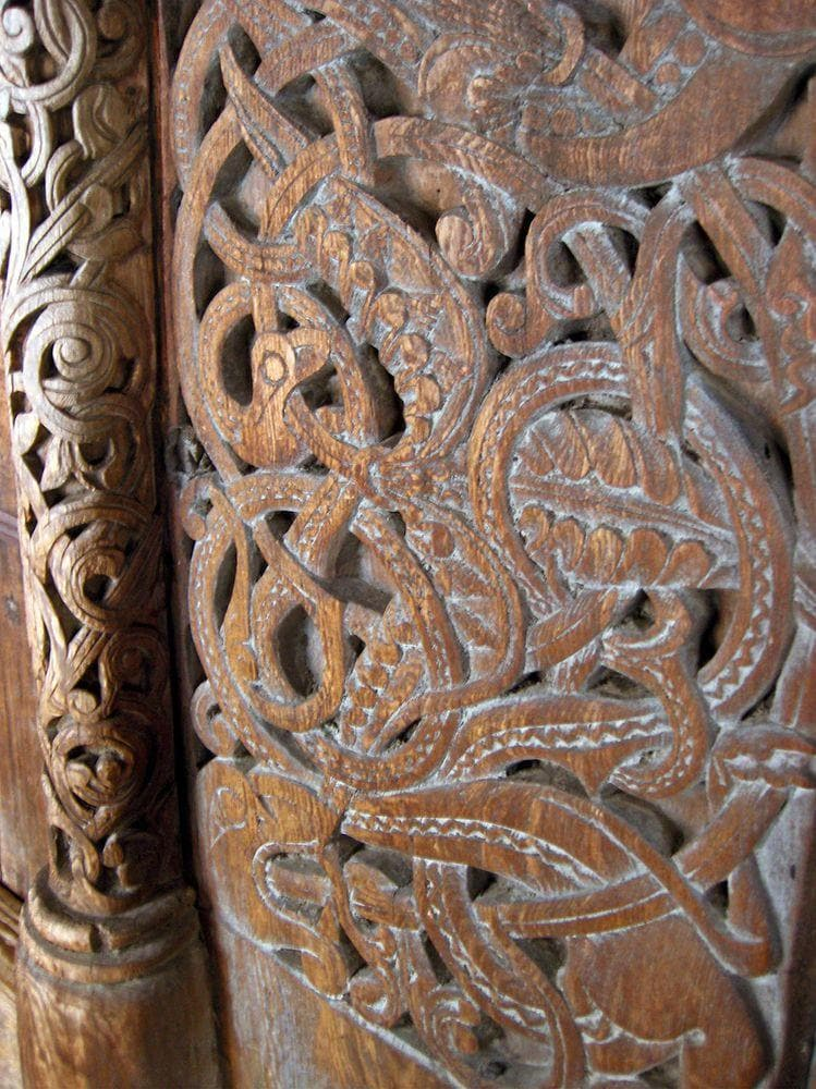 Woodcarving in the Borgund stave church, Norway