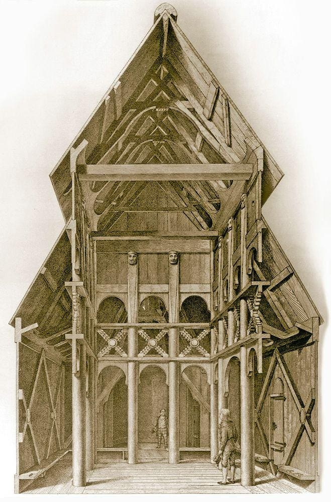 Interior of Borgund stave church, drawing