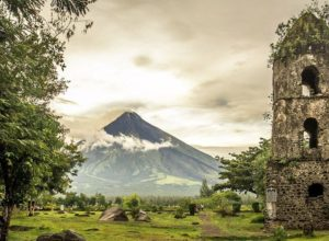 Ruins of Cagsawa Belfry and Mayon volcano, Philippines