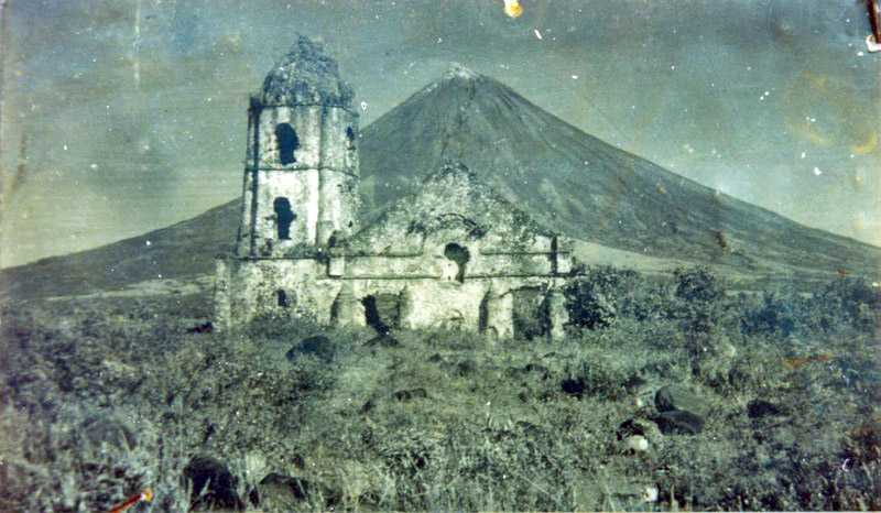 Ruins of Cagsawa Belfry before 1960. Part of facade still is standing, Philippines