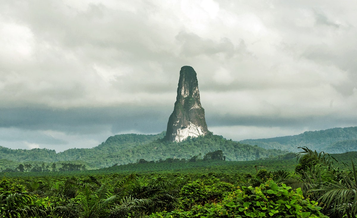 Pico Cão Grande rising above the rainforest, São Tomé and Príncipe