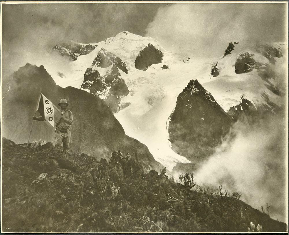 James Chapin with Mount Stanley in the background, Rwenzori Mountains, 1925