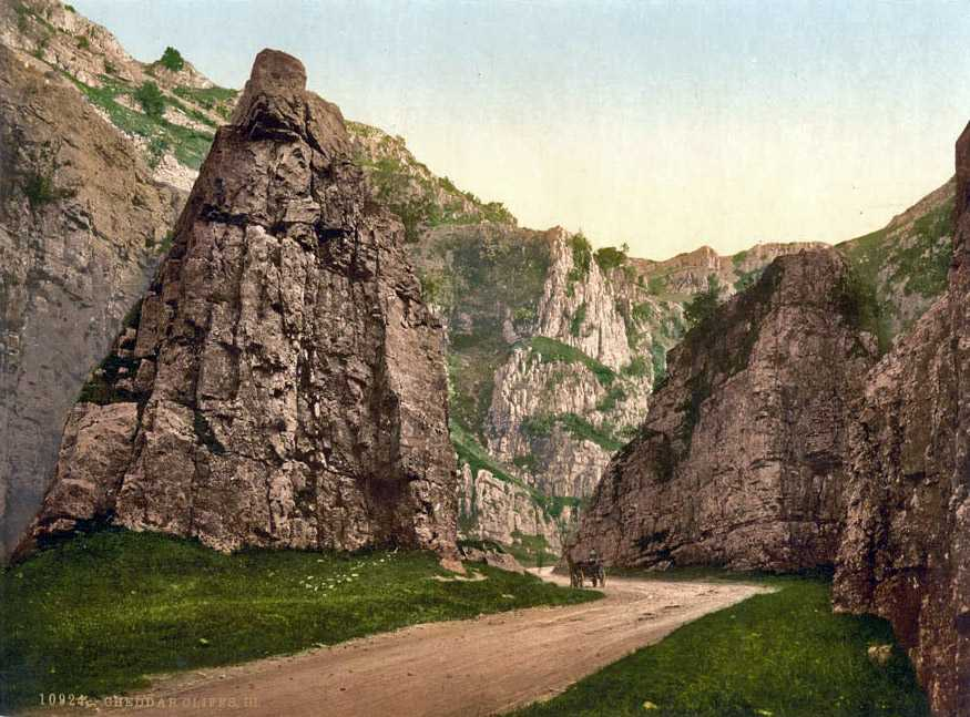 Cheddar Gorge in old image