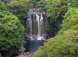 The second cascade of Cheonjeyeon Waterfalls, Jeju Island