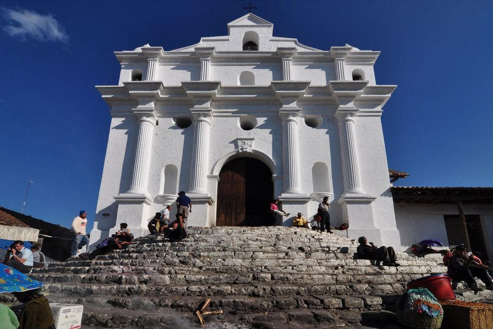 Santo Tomás Church on the top of Maya pyramid in Chichicastenango, Guatemala