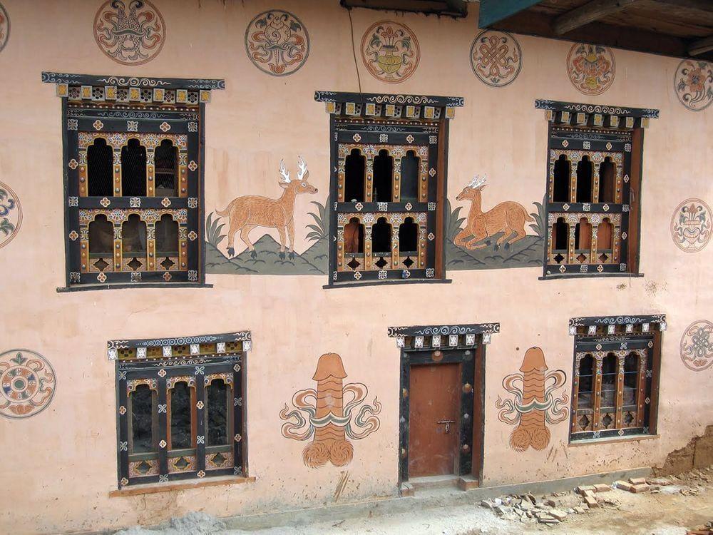 Adornment of Chimi Lhakhang monastery, Bhutan