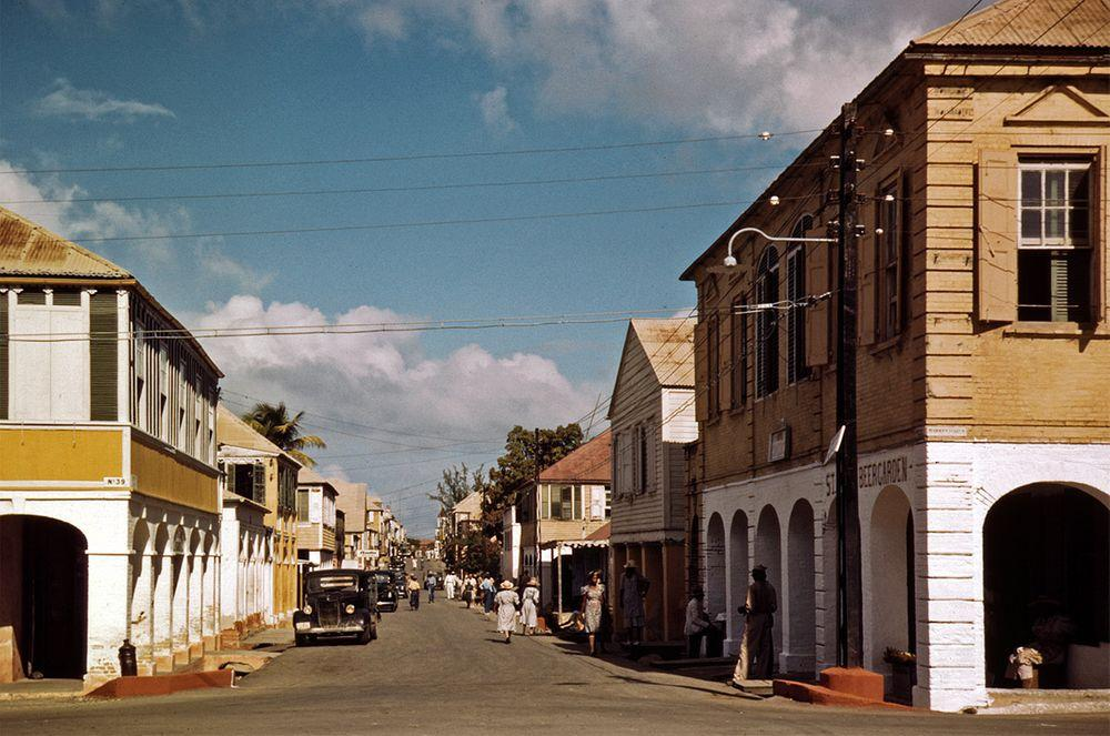 The main shopping street in Christiansted, 1944