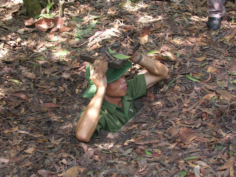 One of entrances in Củ Chi tunnels, Vietnam