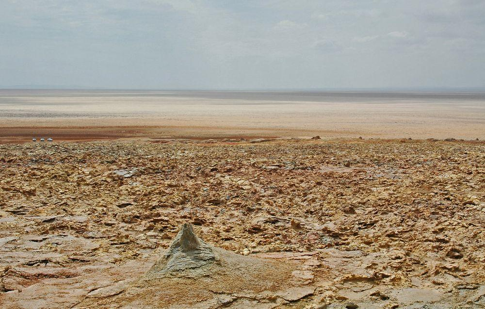 Danakil Desert from Dallol volcano. This is the hottest place on Earth, with mean temperature 34.4°C