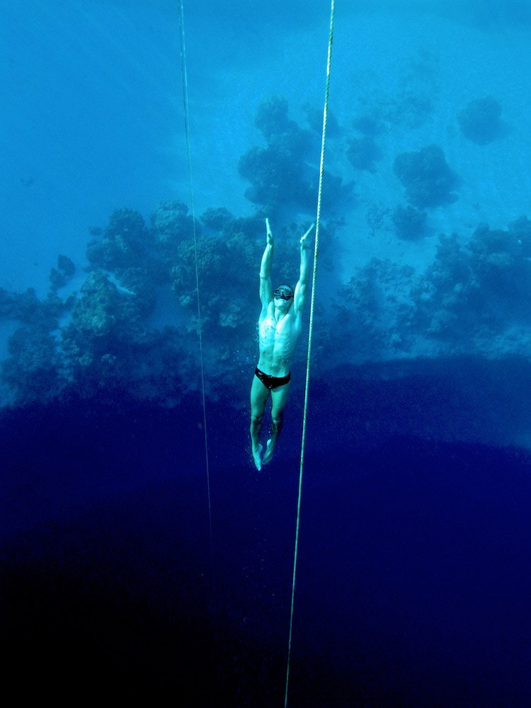 William Trubridge in Dean's Blue Hole in Bahamas