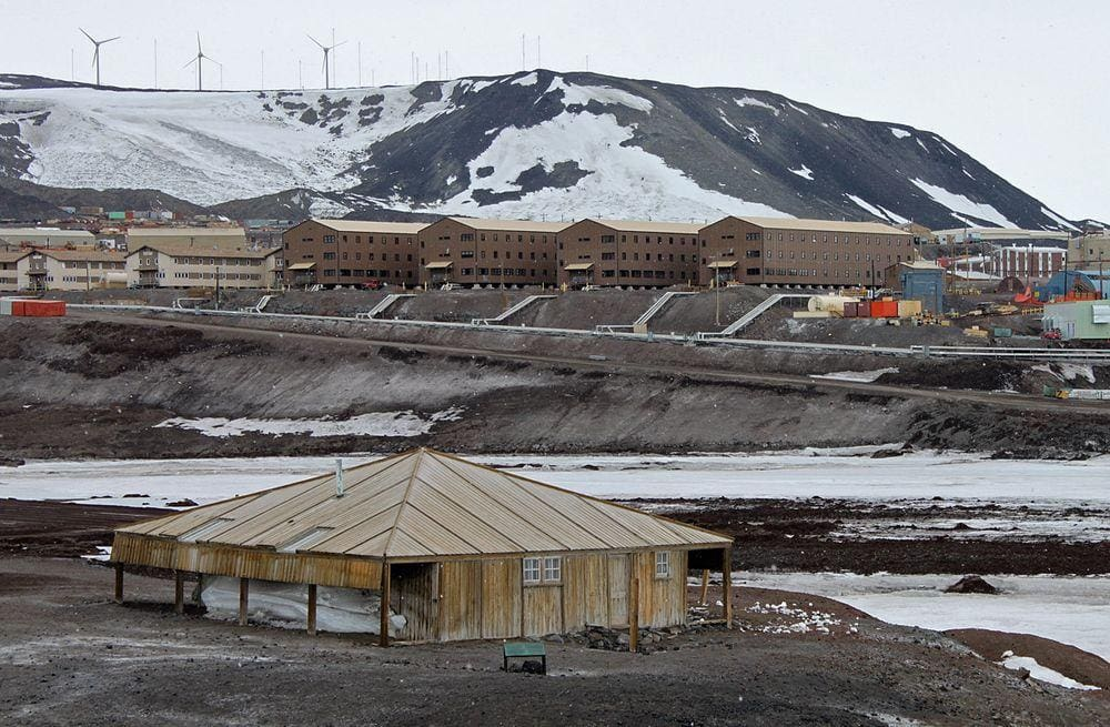 Discovery Hut with McMurdo Station in the background, Antarctica