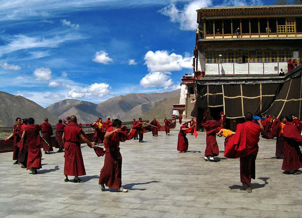 Dance of monks in Drigung Monastery, Tibet