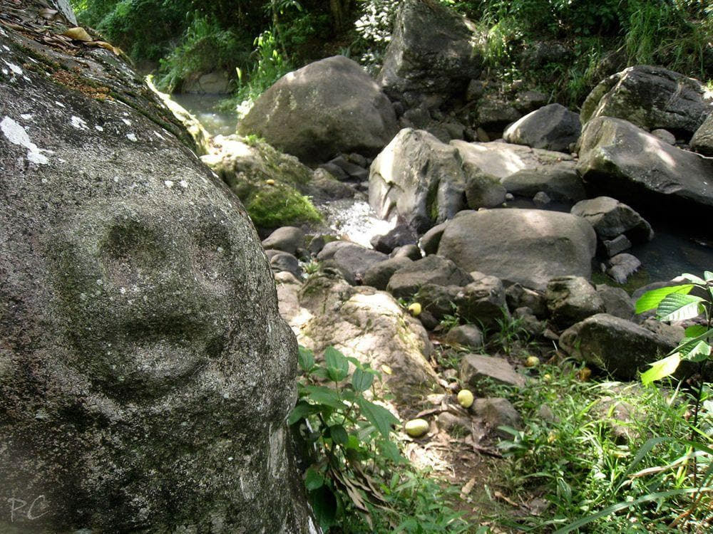 Petroglyph at Du Plessis River, Guadeloupe