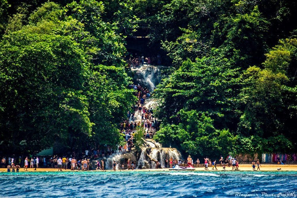 Dunn's River Falls in Jamaica, as seen from the sea