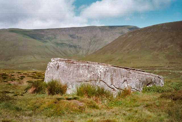 Dwarfie Stane, side view with Ward Hill in the background, Orkney Islands
