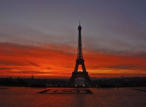 Eiffel Tower, sunset