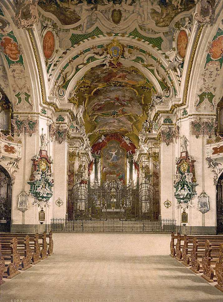 Interior of Einsiedeln Abbey church, Switzerland