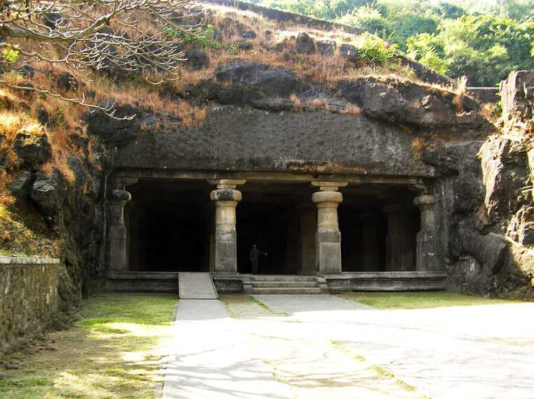 Entrance in Great Cave, Elephanta Caves in India