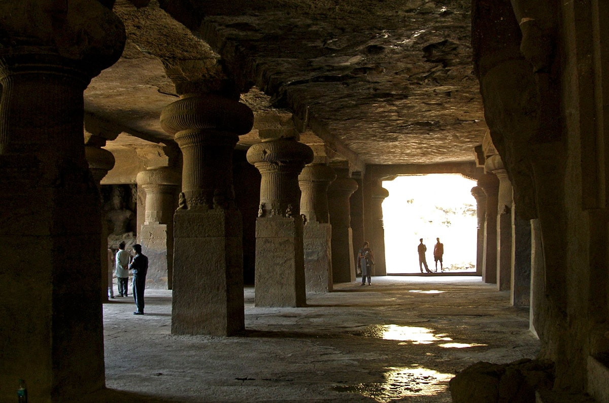 Inside the Great Cave, Elephanta Caves in India