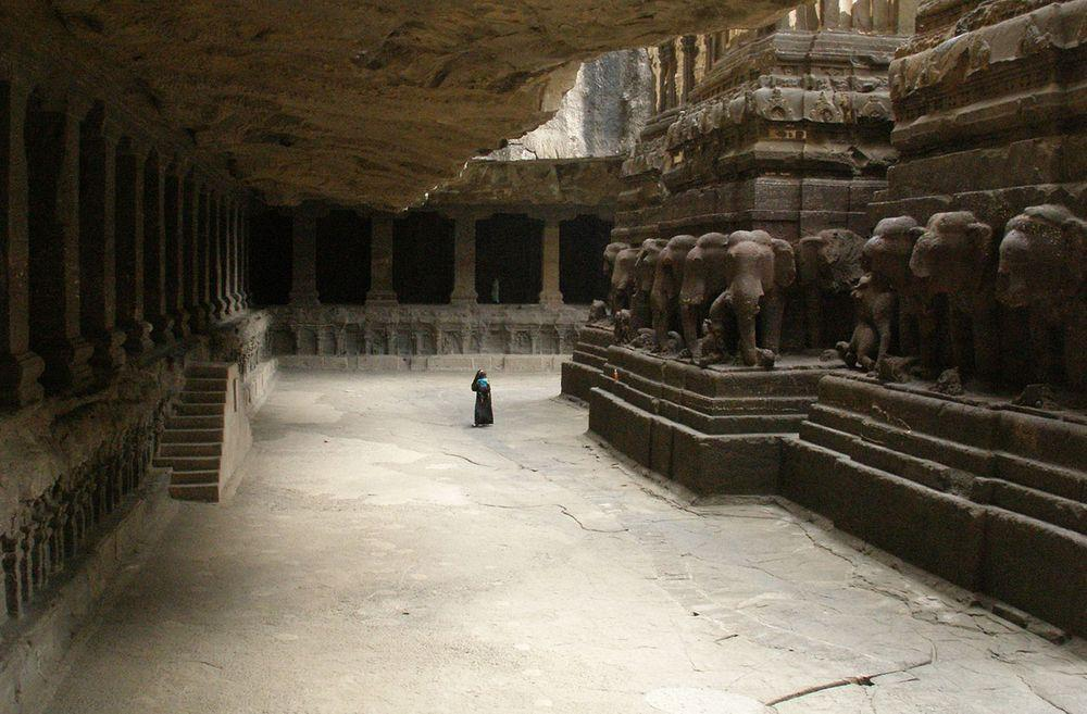 Nandi Mandap in Kailasanatha Temple, India