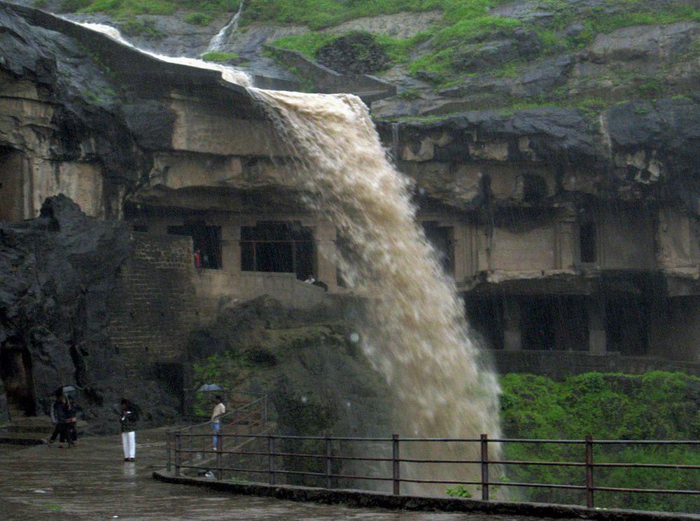 Waterfall at heavy rain, Ellora Caves