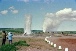 Geysir and Strokkur erupting simultaneously, June 1984