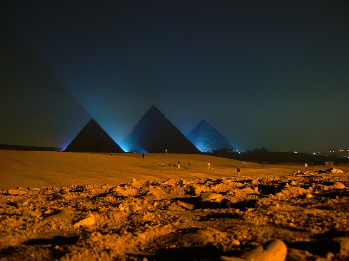 Giza Pyramids at night