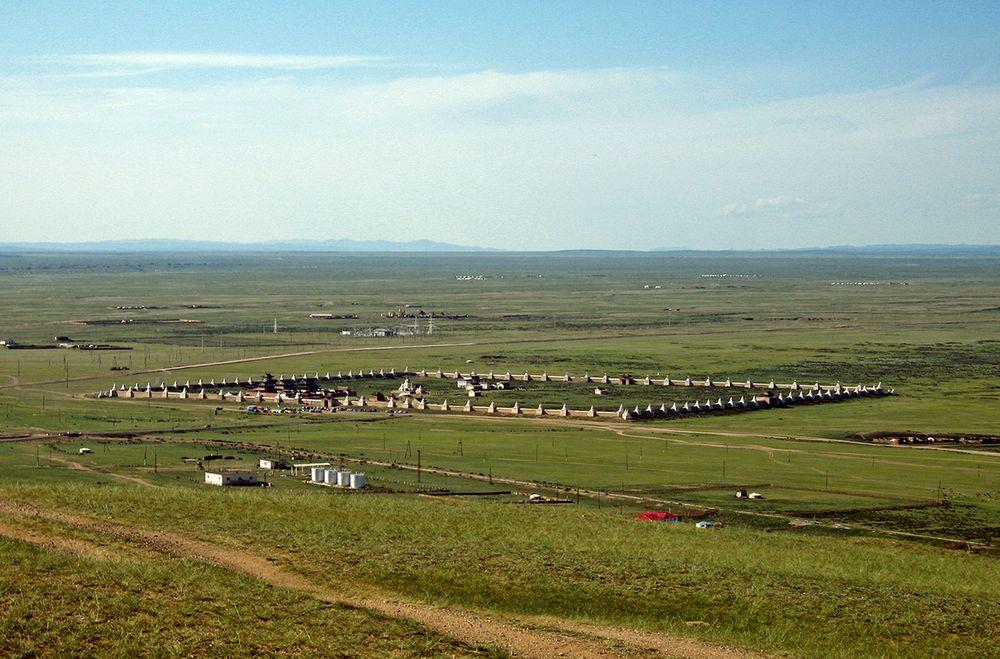 Erdene Zuu monastery from the nearby hill, Mongolia