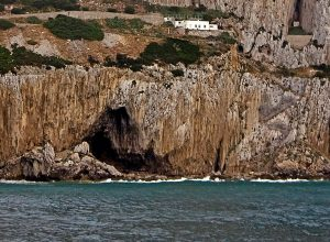 Entrance in Gorham's Cave, Gibraltar - the last refuge of Neanderthals
