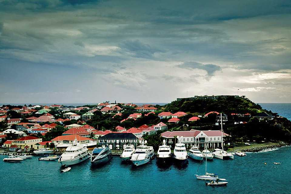 Gustavia and luxury yachts before the storm, Saint Barthelemy