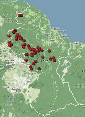Waterfalls of Guyana, map